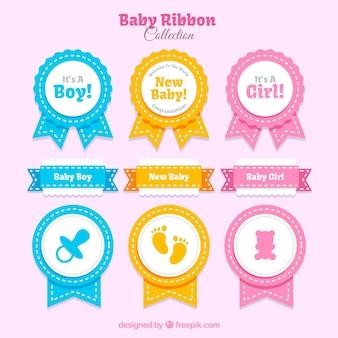 Selecção de fitas para chá de bebê com cores diferentes
