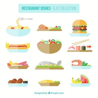 Selecção de pratos de restaurante planas