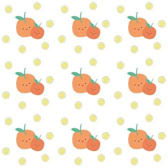 Sem costura Padrão de fruta laranja