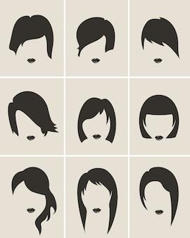 Set mulher estilo de cabelo