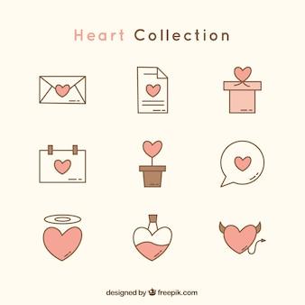 Set plana de elementos decorativos com corações