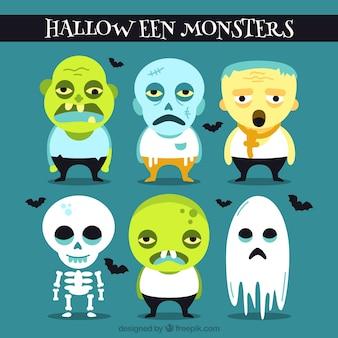 Set plana de monstros de Halloween com detalhes azuis