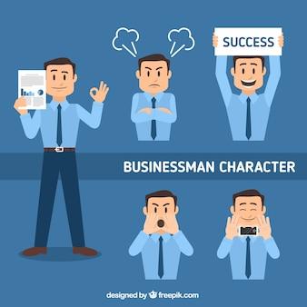 Set plana do caráter do homem de negócios em diferentes posturas