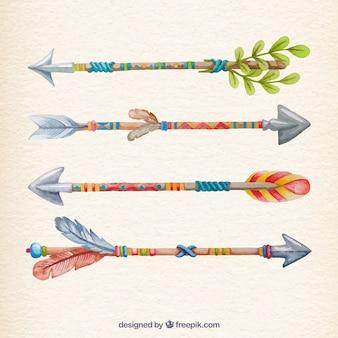 Setas coloridas em estilo pintados à mão