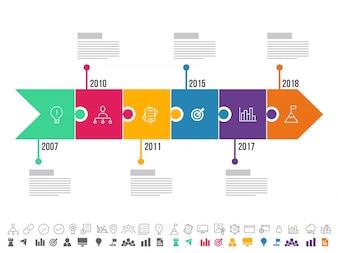 Setas com seis passos, layout da Infografia cronológica com ícones configurados, em versões preto e branco e coloridas.