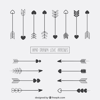 Setas desenhadas mão do amor