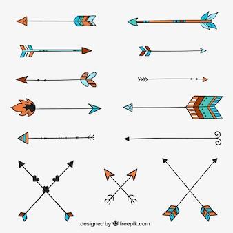 Setas desenhadas mão étnicos