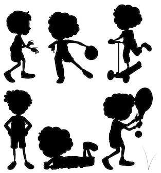 Silhouette crianças fazendo atividades diferentes