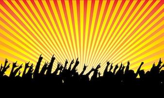 Silhueta da audiência do rock