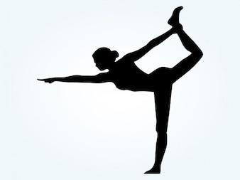 Silhueta da mulher Pose Yoga