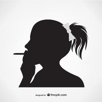 Silhueta de fumar mulher