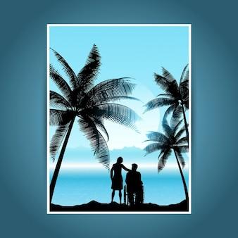 Silhueta de um homem em uma cadeira de rodas com uma mulher em uma paisagem tropical