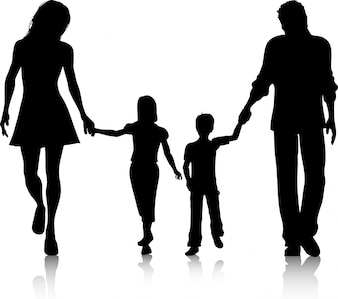 Silhueta de uma família andando de mãos dadas
