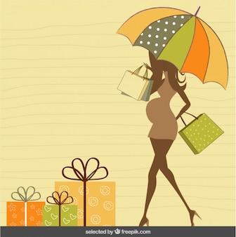 Silhueta grávida com cartão do chá de fraldas do guarda-chuva