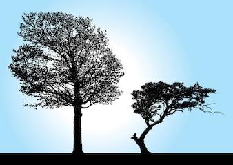 silhueta vetores árvore