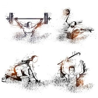 Silhuetas abstratas de atletas