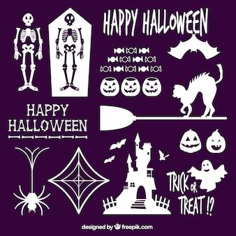 Silhuetas brancas de elementos de Halloween