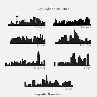 Silhuetas cidade skyline embalar