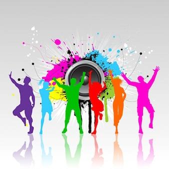 Silhuetas coloridas de pessoas dançando em um fundo do grunge