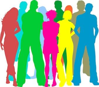 Silhuetas coloridas de pessoas