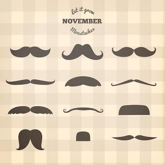 Silhuetas de bigodes movember