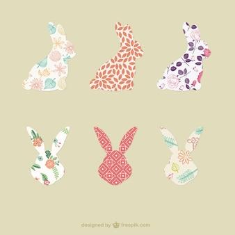Silhuetas de coelho com padrões