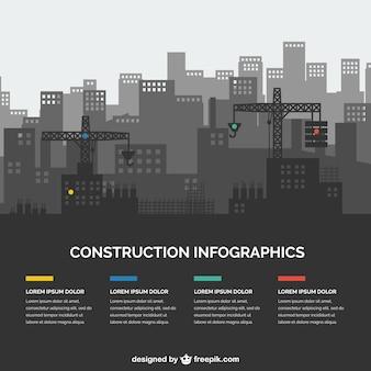 silhuetas de construção infografia