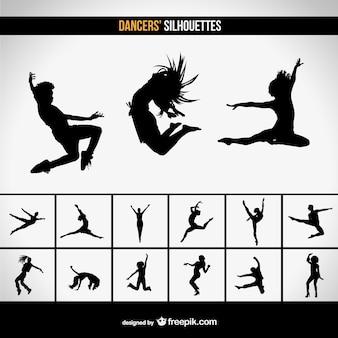 Silhuetas de dança moder vetor