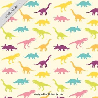 silhuetas de dinossauros coloridos