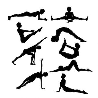 Silhuetas de fêmeas em várias poses de ioga