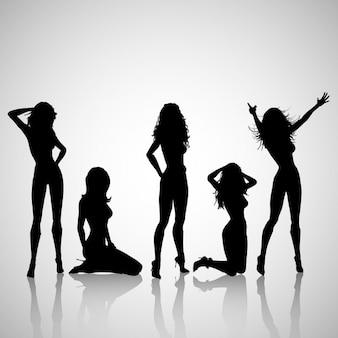 Silhuetas de mulheres sensuais