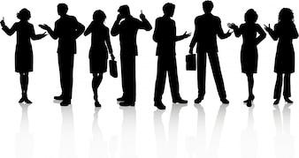 Silhuetas de pessoas de negócios em várias poses