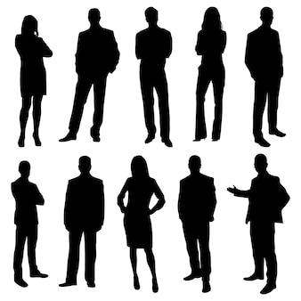Silhuetas de pessoas empresariais de escritório