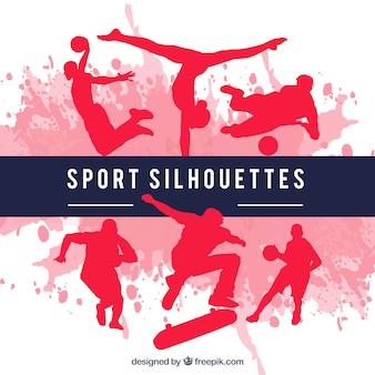 Silhuetas do esporte vermelho