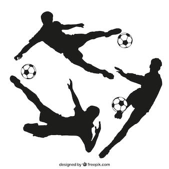 Silhuetas do jogador de futebol