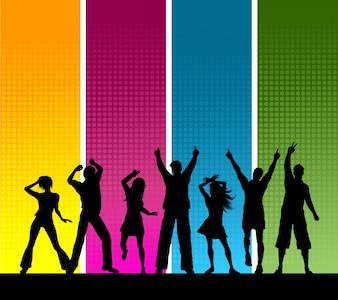 Silhuetas, grupo, pessoas, dançar