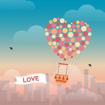 Símbolo do Coração Fundo do balão de ar quente