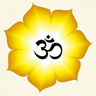 Símbolo do OM em uma flor amarela