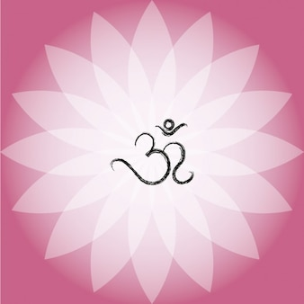 Símbolo do OM no rosa Lotus Flower