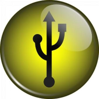 símbolo USB vítreo
