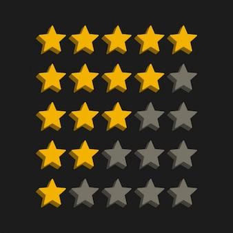 Símbolos classificação por estrelas do estilo 3D