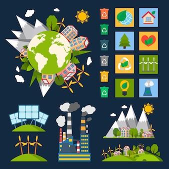 Símbolos ecologicos ecológicos ecologicamente ecológicos com globo reciclagem de energia e ícones da natureza ilustração vetorial