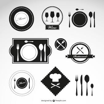 Símbolos vetor restaurante definidos