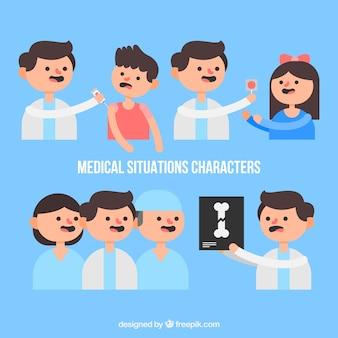 Simpáticos personagens em situações médicas