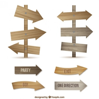Sinais de seta de madeira