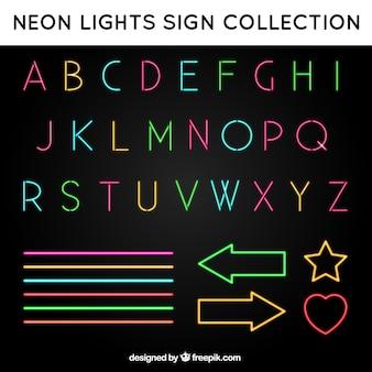 Sinais do alfabeto e de néon