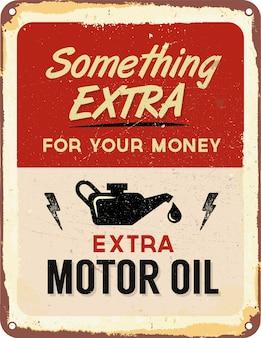 Sinal da lata de óleo de motor do vintage