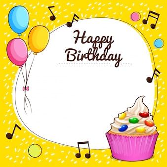 Sinal de feliz aniversario com ilustração de design de cupcake