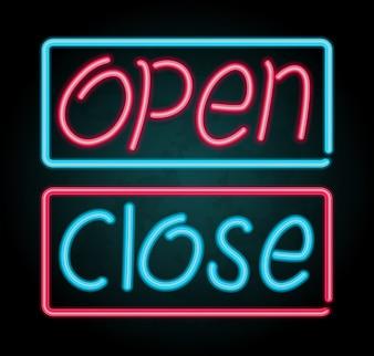Sinal de néon para abrir e fechar