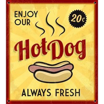 Sinal retro Hotdog Tin Vintage
